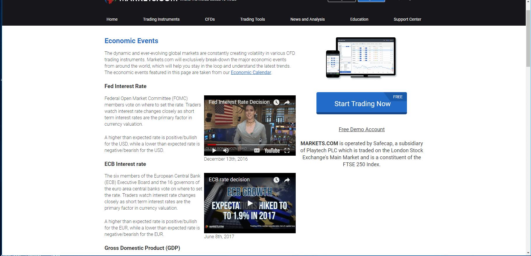 markets.com educational resources screenshot