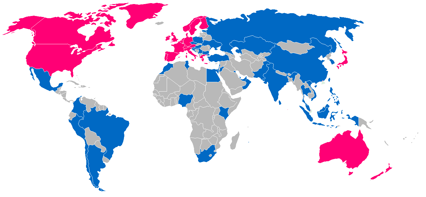 Map to show developed and emerging markets