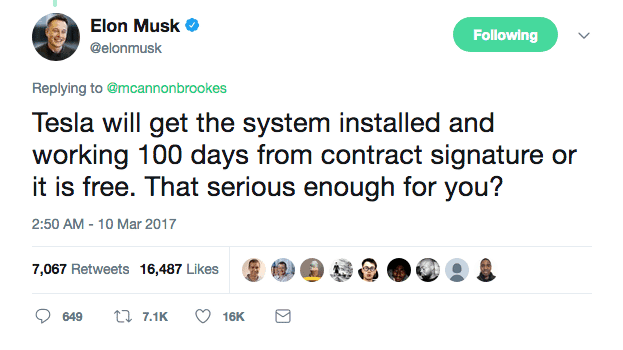 Elon Musk agrees to complete battery system in 100 days