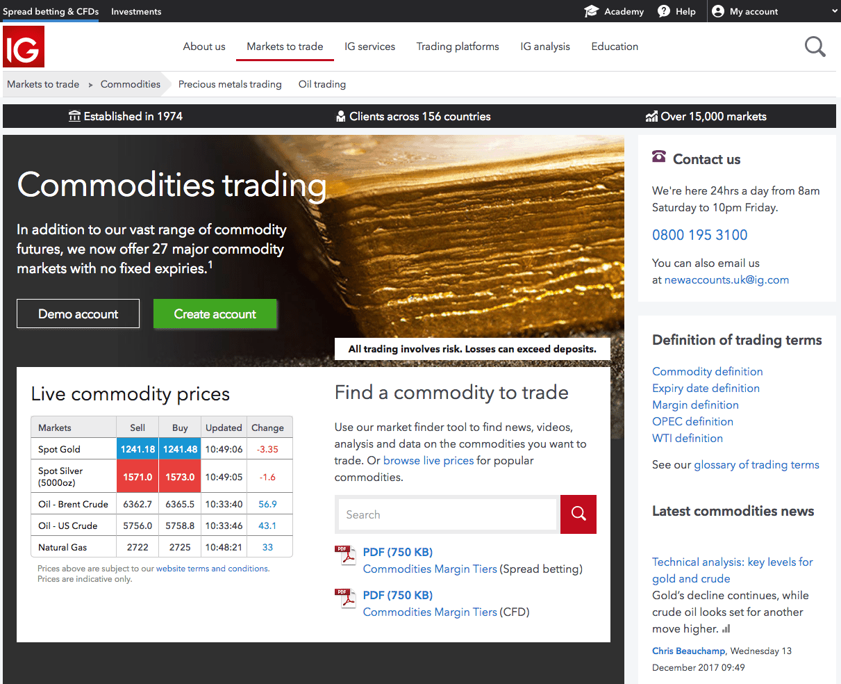 Commodities market page from IG.com