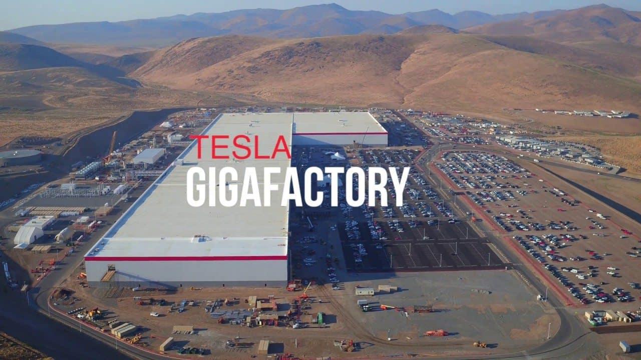Aerial shot of Tesla Gigafactory
