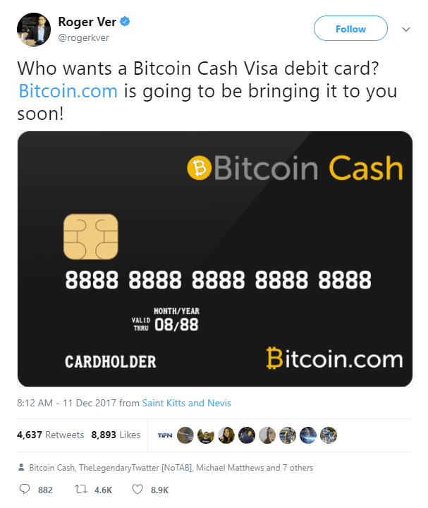 bitcoin cash visa debit card