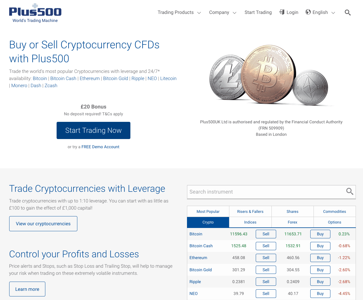 screenshot of cryptocurrency trading page at Plus500