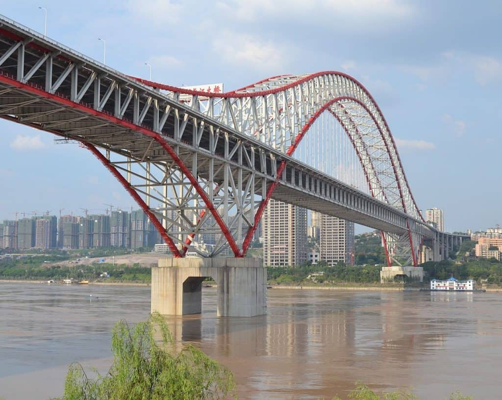 Chaotianmen Yangtze River Bridge in Chongqing City China via Wikimedia