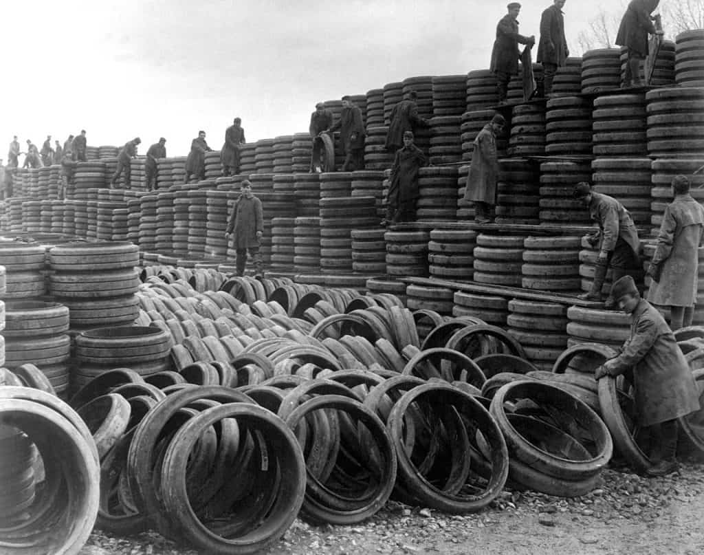 Pile of 85,000 Solid Tires for A.E.F. Motor Vehicles via Wikimedia