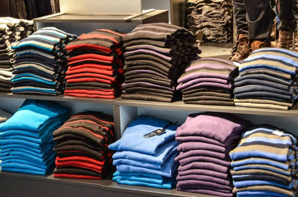 Shelves of Wool Sweaters