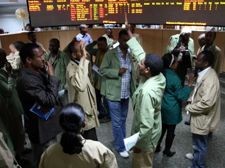 Traders at the Ethiopian Commodity Exchange