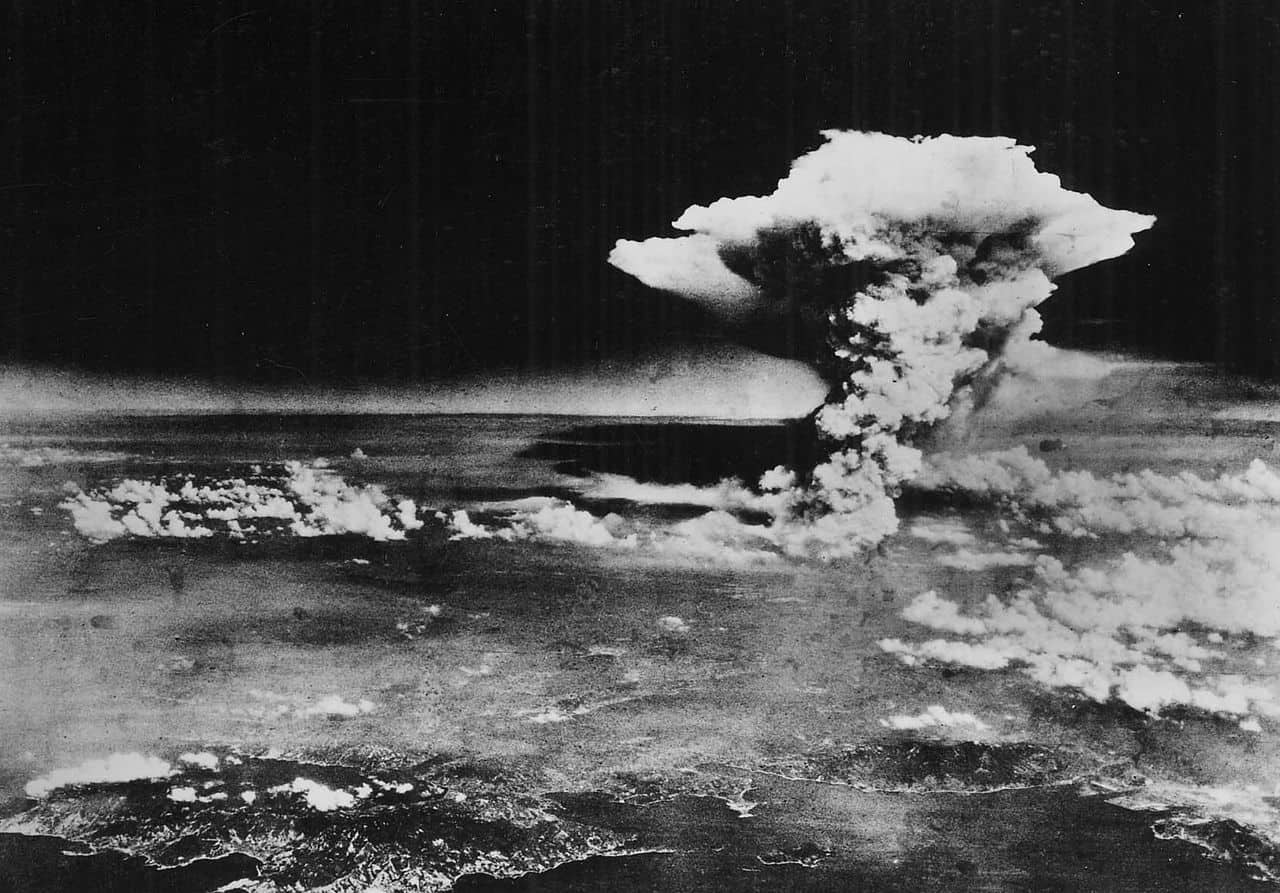 Atomic cloud over Hiroshima, taken from Enola Gay flying over Matsuyama, Shikokuon via Wikipedia