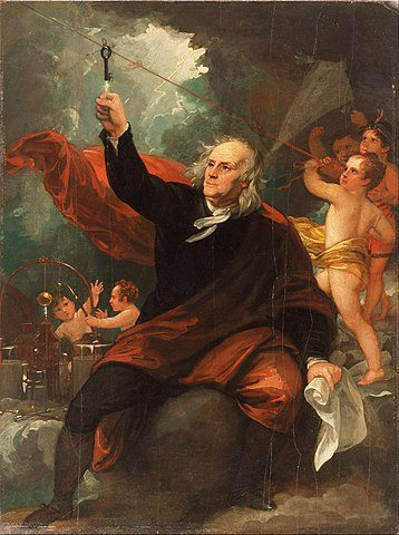 Benjamin Franklin Drawing Electricity from the Sky via Wikimedia