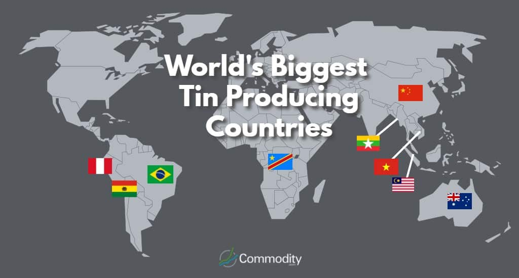 World map of Biggest Tin Producing Countries
