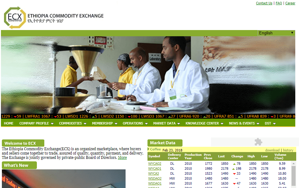 Ethiopia Commodity Exchange Homepage