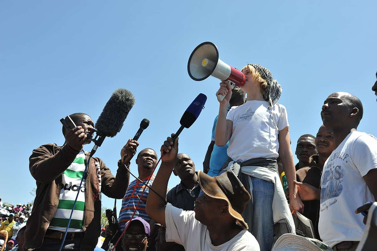 Liv Shange Addresses Striking Mineworkers, Carletonville South Africa, via WASP SA on Wikimedia