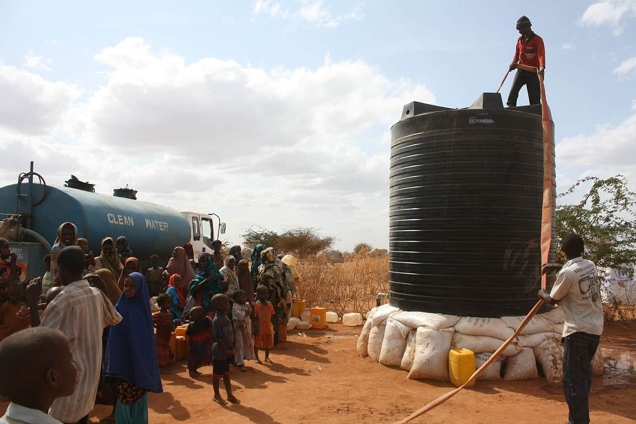 A New Water Tank is Filled at IFO Camp via Oxfam East Africa on Wikimedia