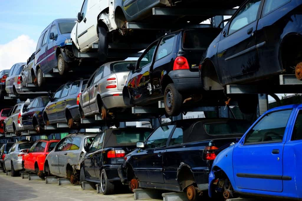 Cars piled up for Scrap Metal
