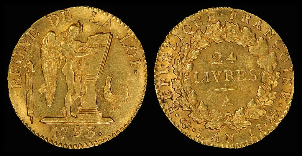 Gold Coins - France 1793 24 Livres via the National Numismatic Collection on Wikimedia