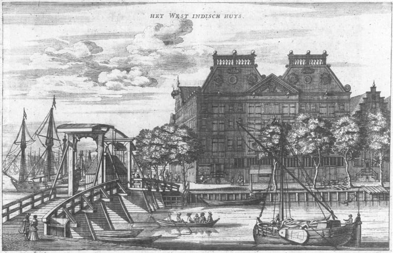 West India House in Amsterdam 1655 via Wikimedia