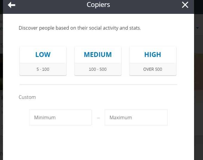 eToro CopyTrader Copiers