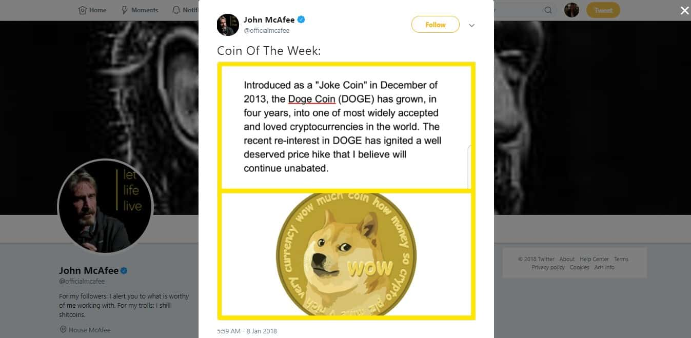 John McAfee quote on Twitter