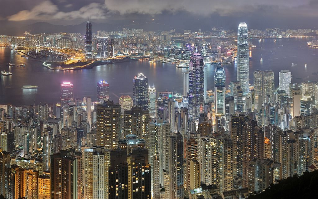 Panorama of the Hong Kong night skyline