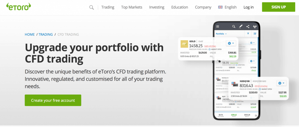 eToro's mobile app showing CFD trading