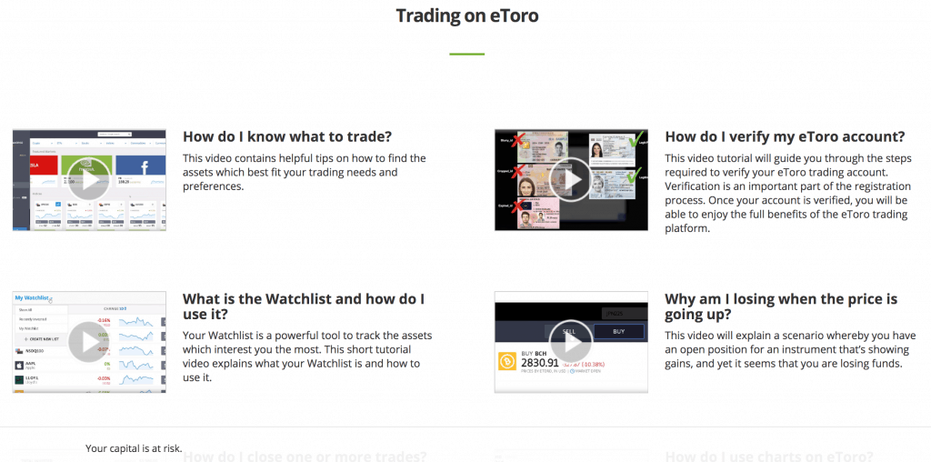 Training academy videos on eToro