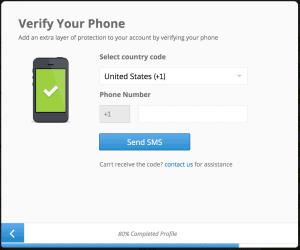 eToro phone verification