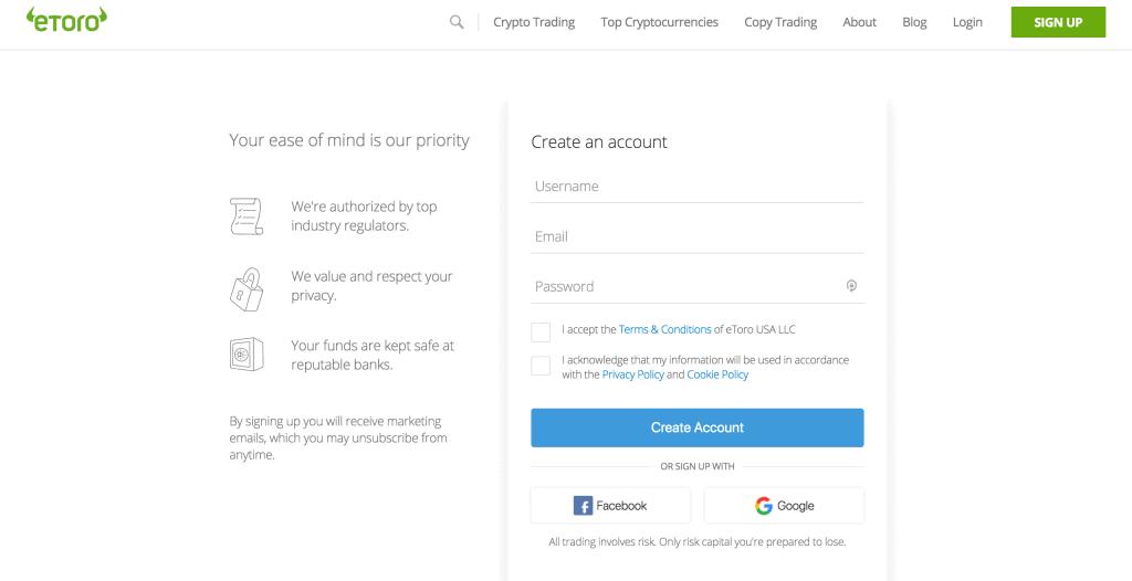 eToro account creation