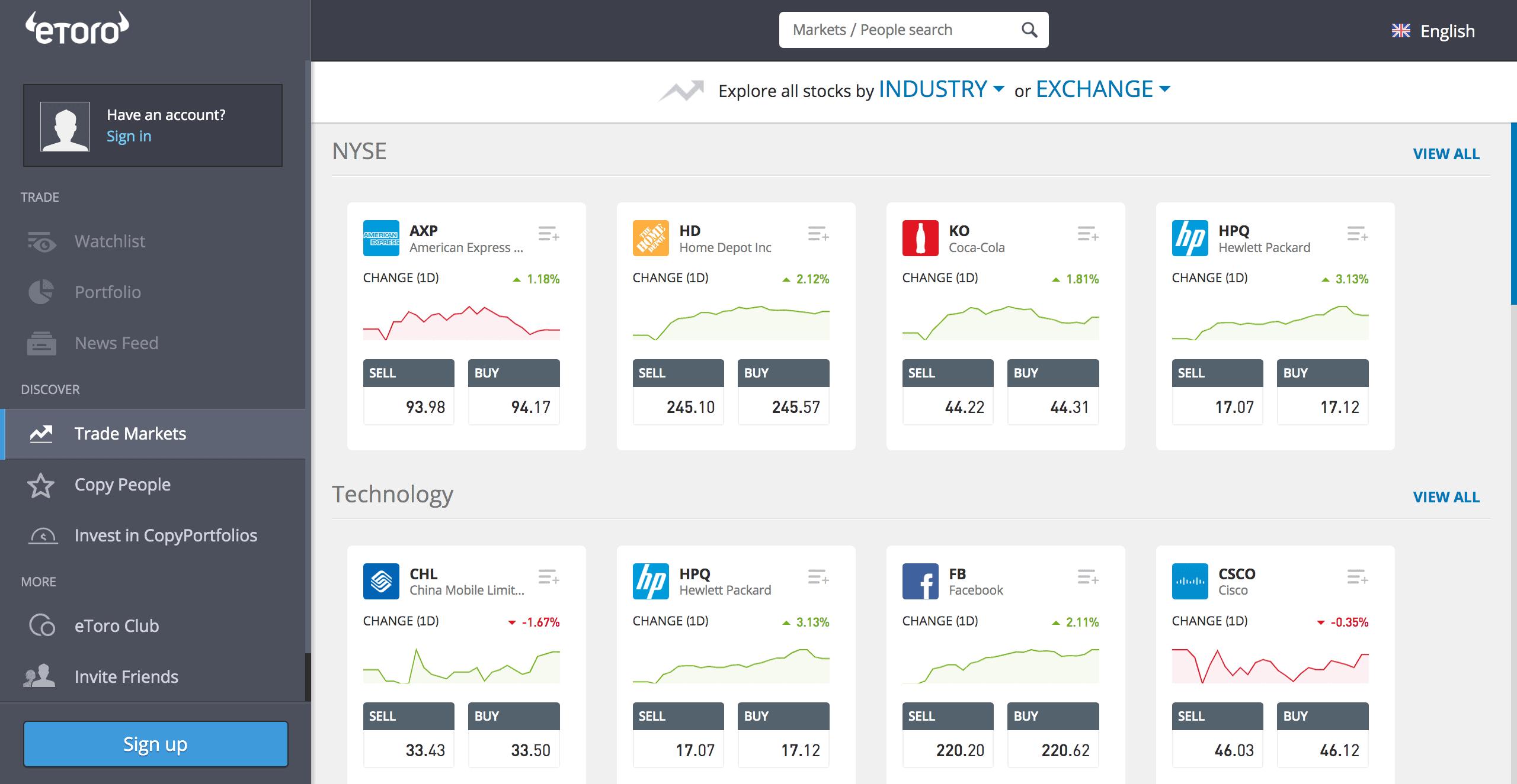 eToro's stock trading dashboard