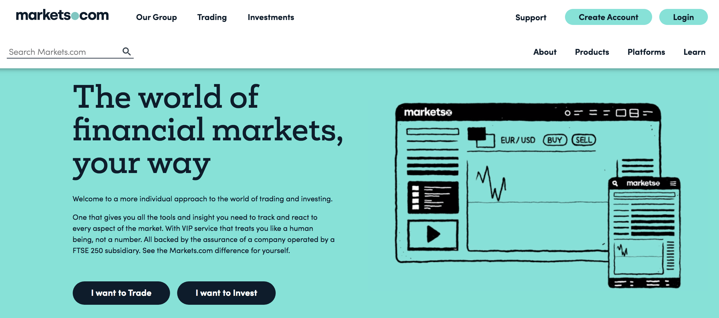 Markets.com home page