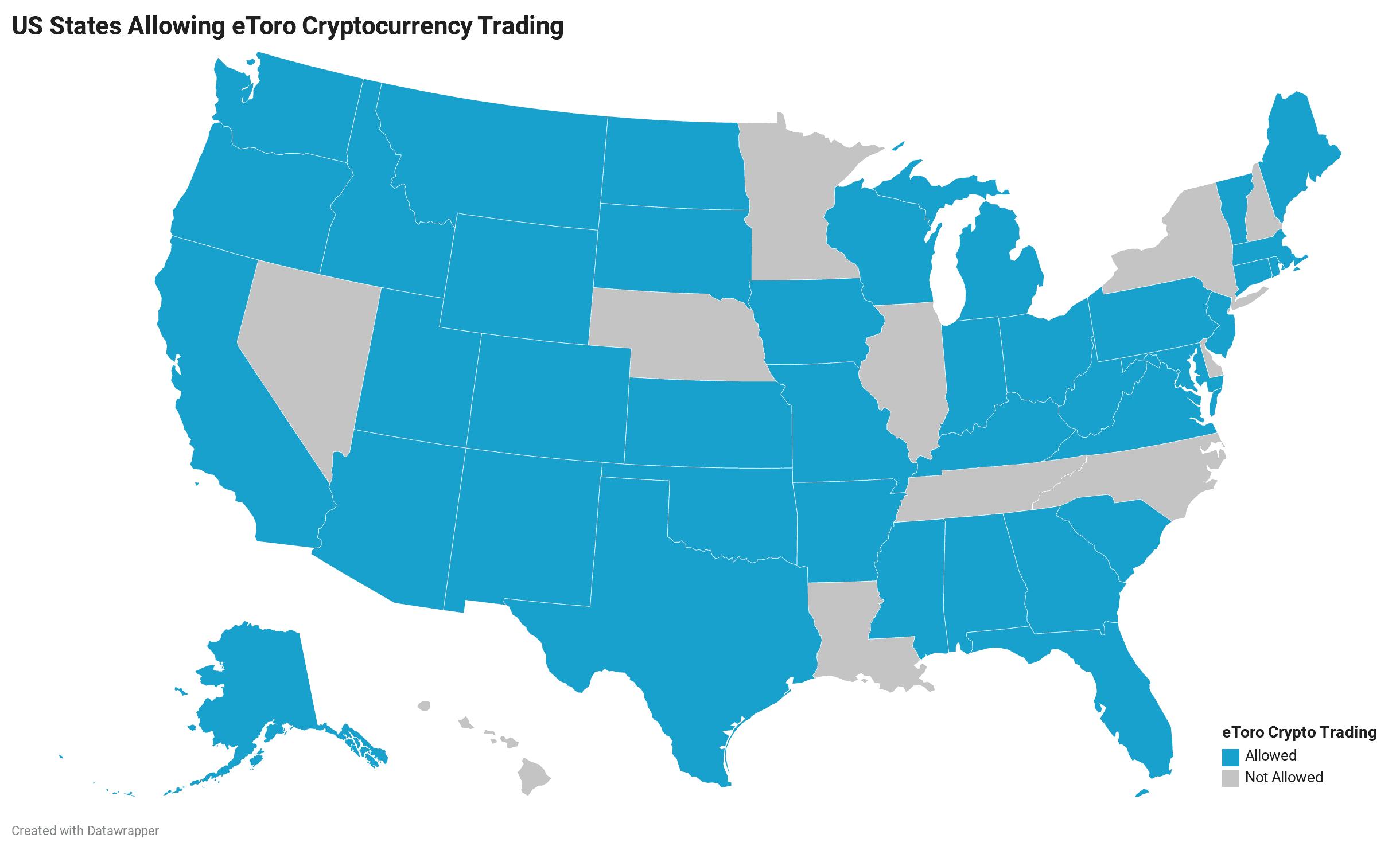 States that allow eToro cryptocurrency trading