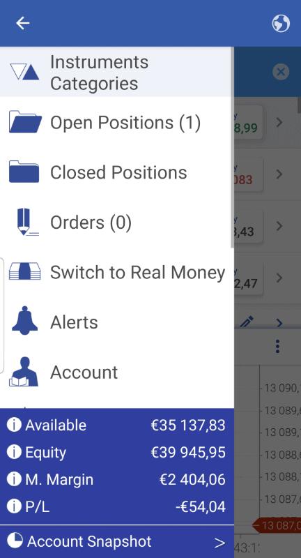 Plus500 App menu screen.