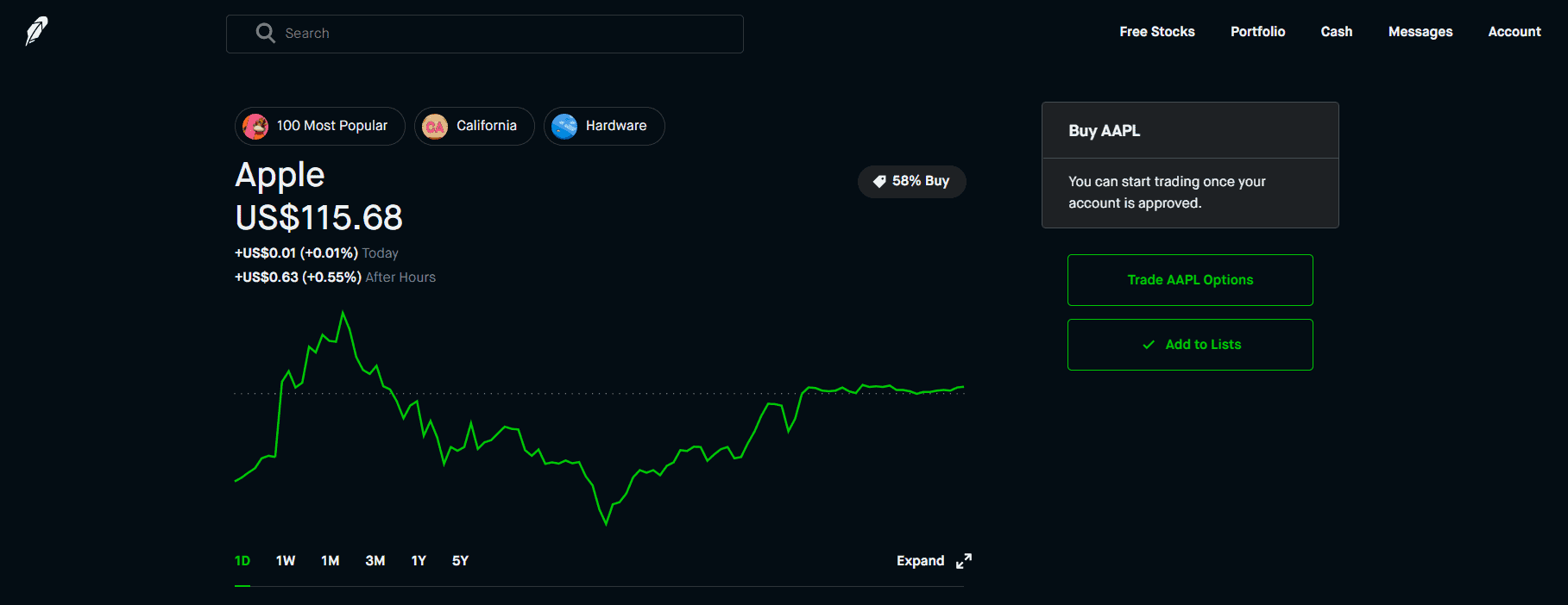 Robinhood's stock browser