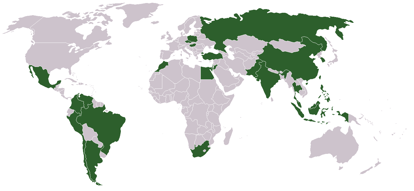 Map of emerging markets