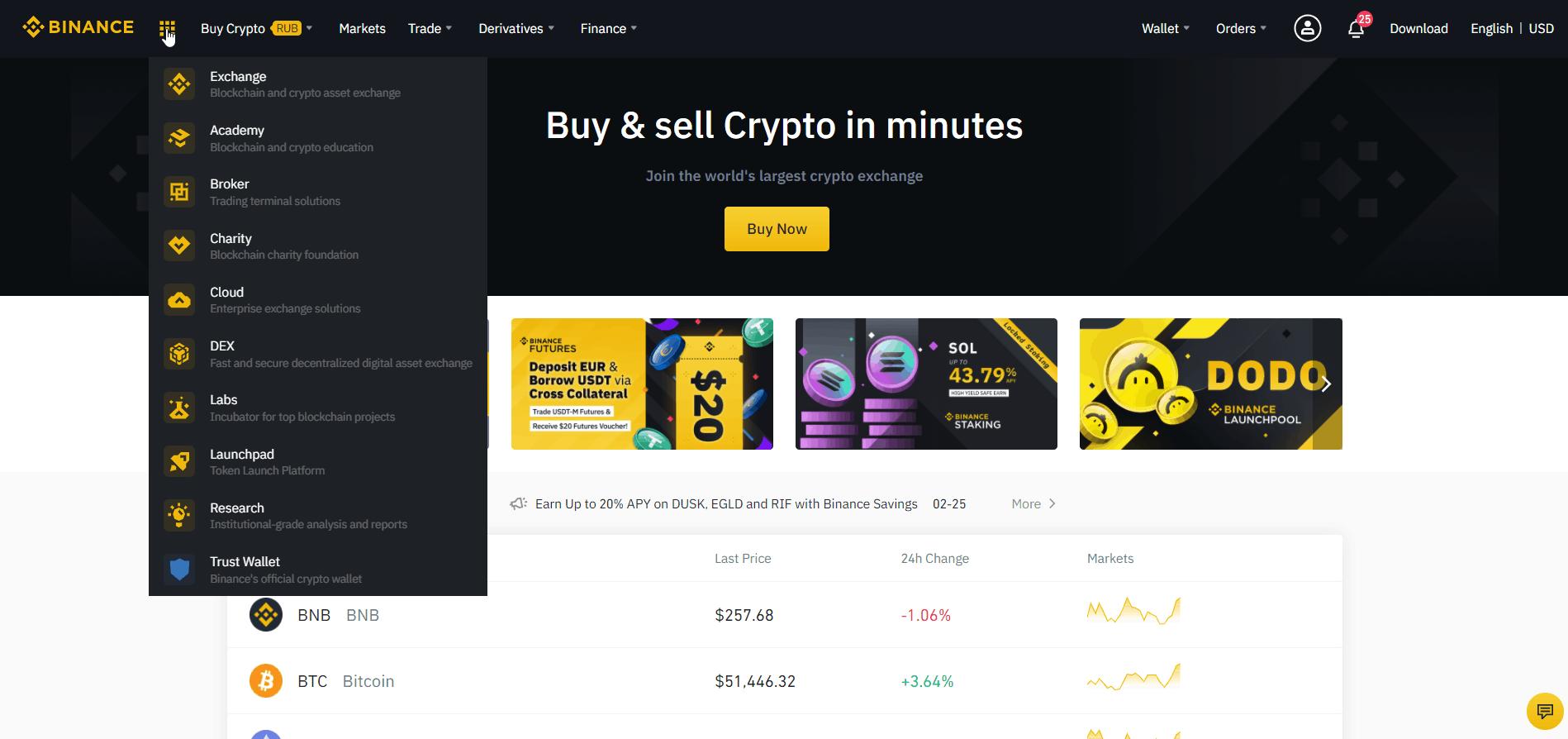 binance home page