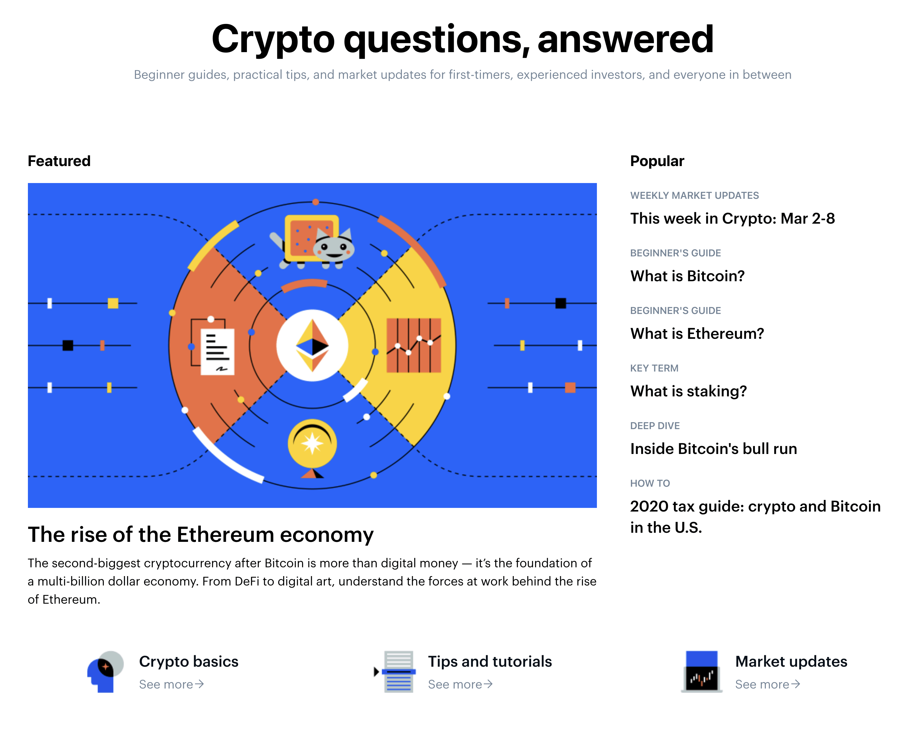 Coinbase's knowledgebase start page