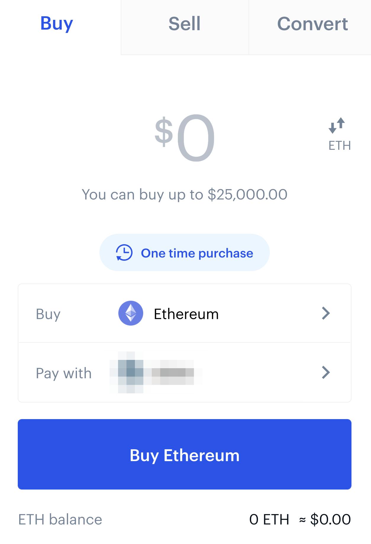 Coinbase buy ticket screen