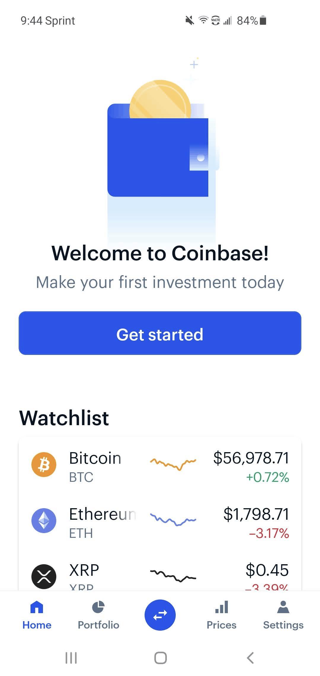 Coinbase mobile start page