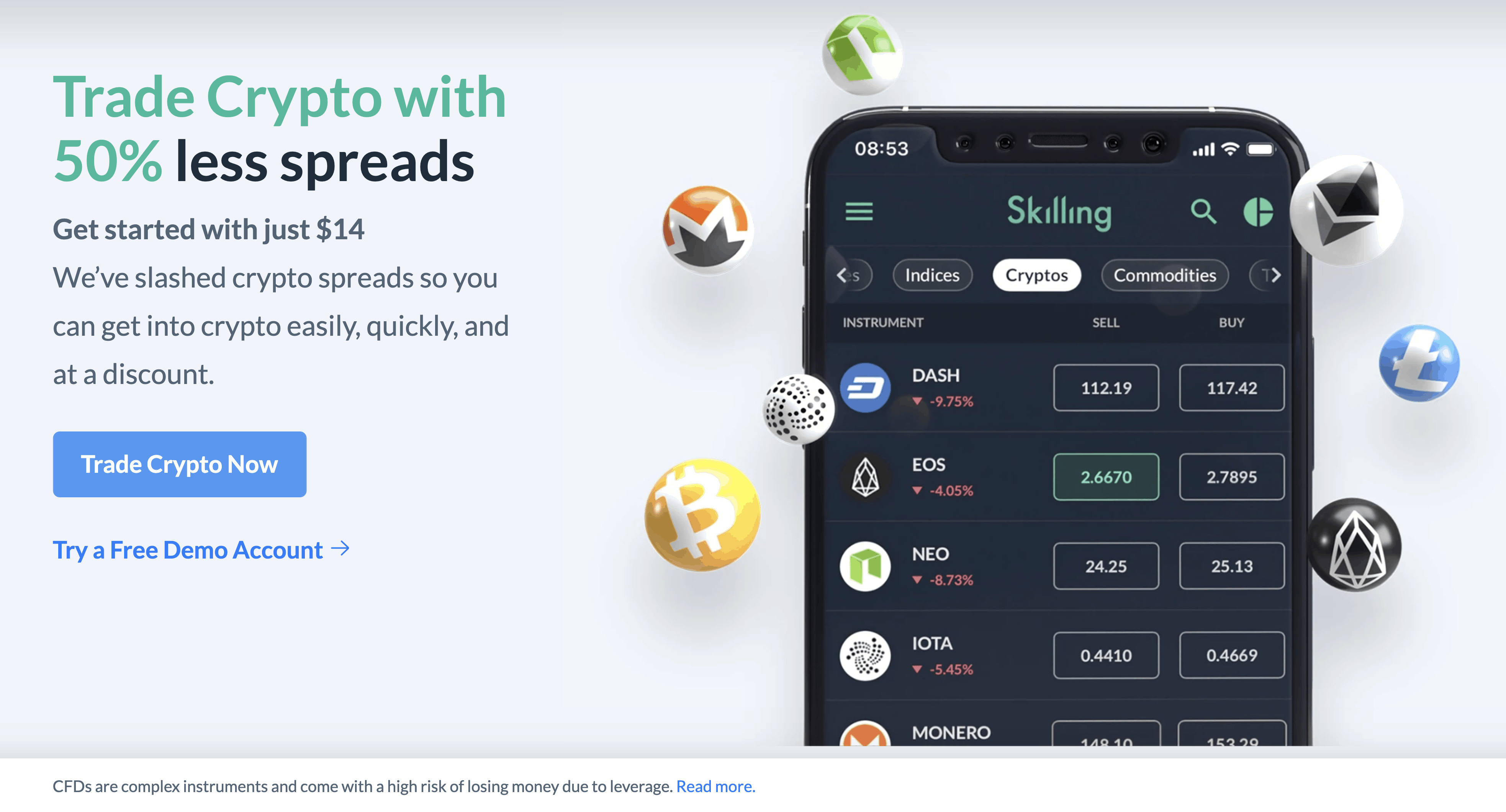 Skilling crypto on mobile with spreads