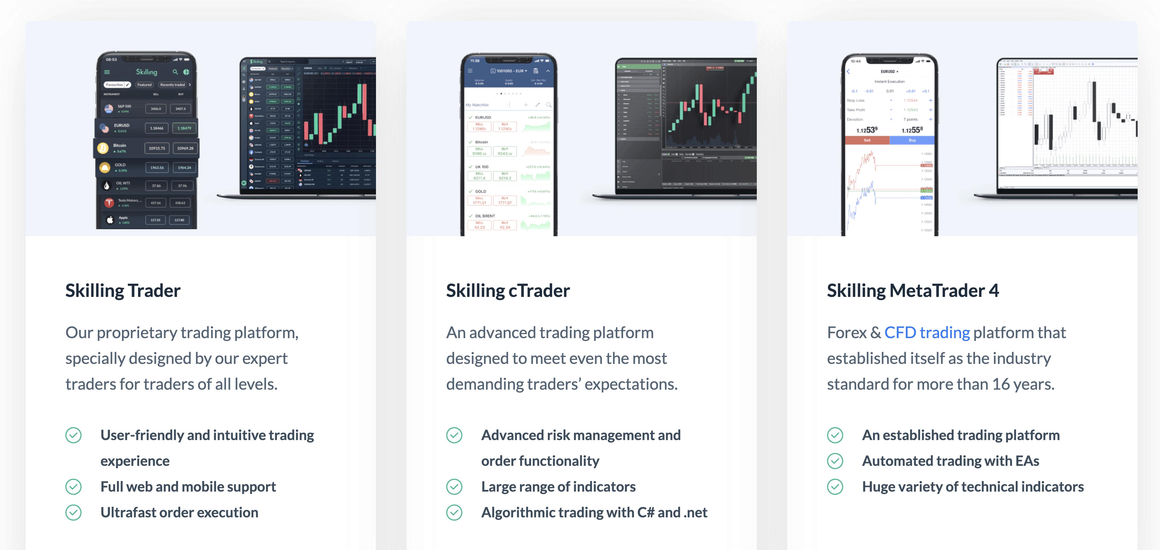 Skilling on 3 different trading platforms: Trader, cTrader, and MT4
