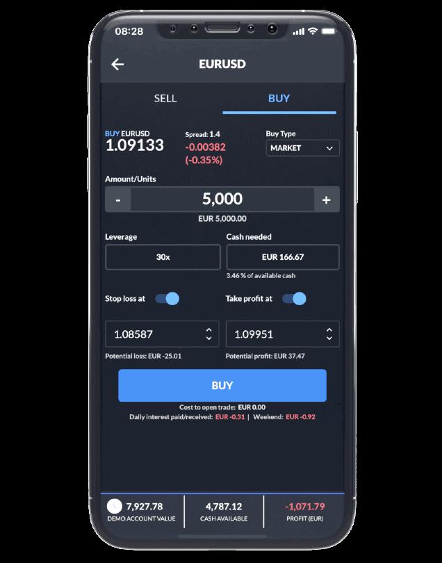 Skilling Trader's order ticket on mobile.