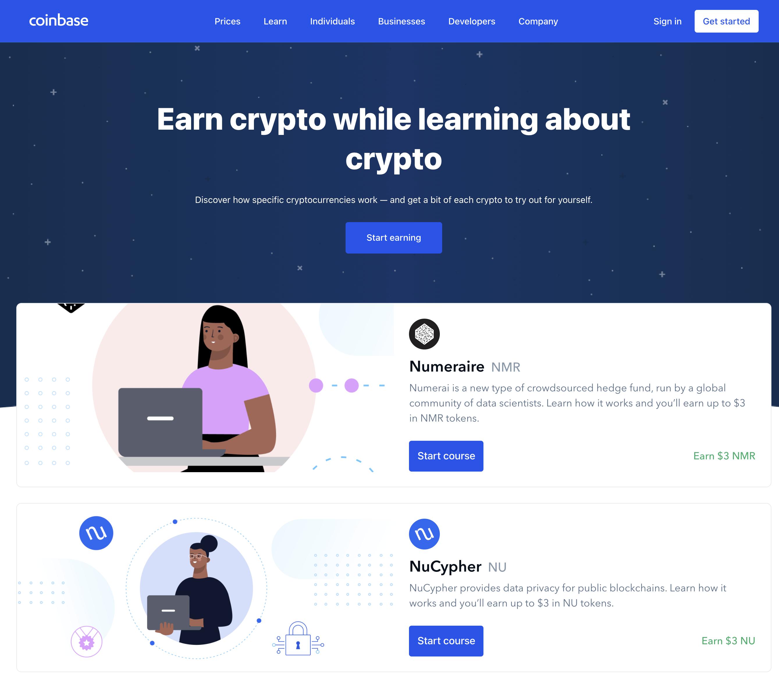 Coinbase Earn courses