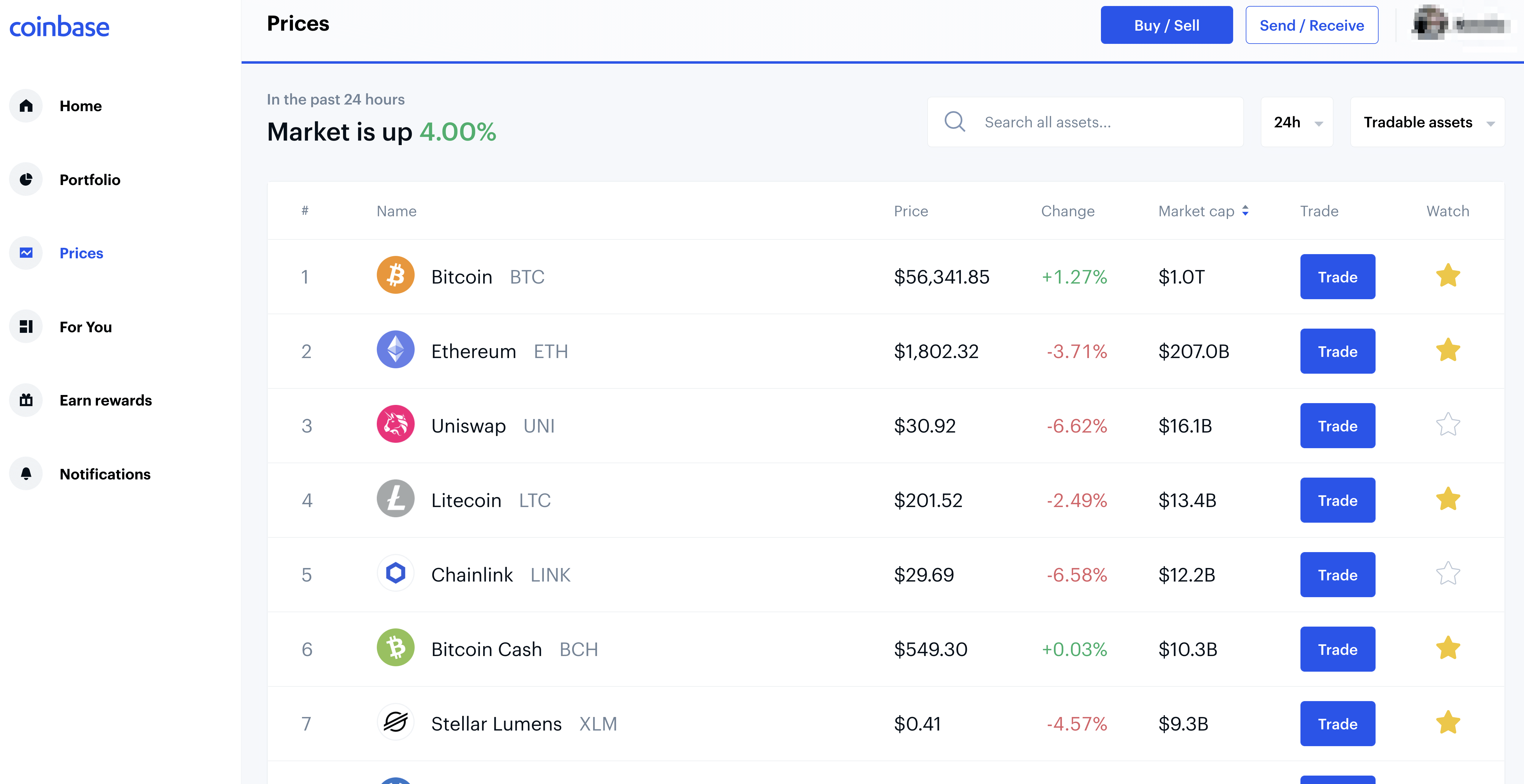 Coinbase exchange's search and watchlist