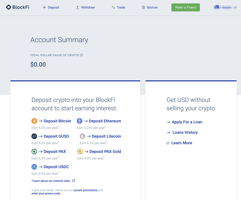 BlockFi platform dashboard showing depostis, withdrawals, trades, and various cryptos you can deposit.