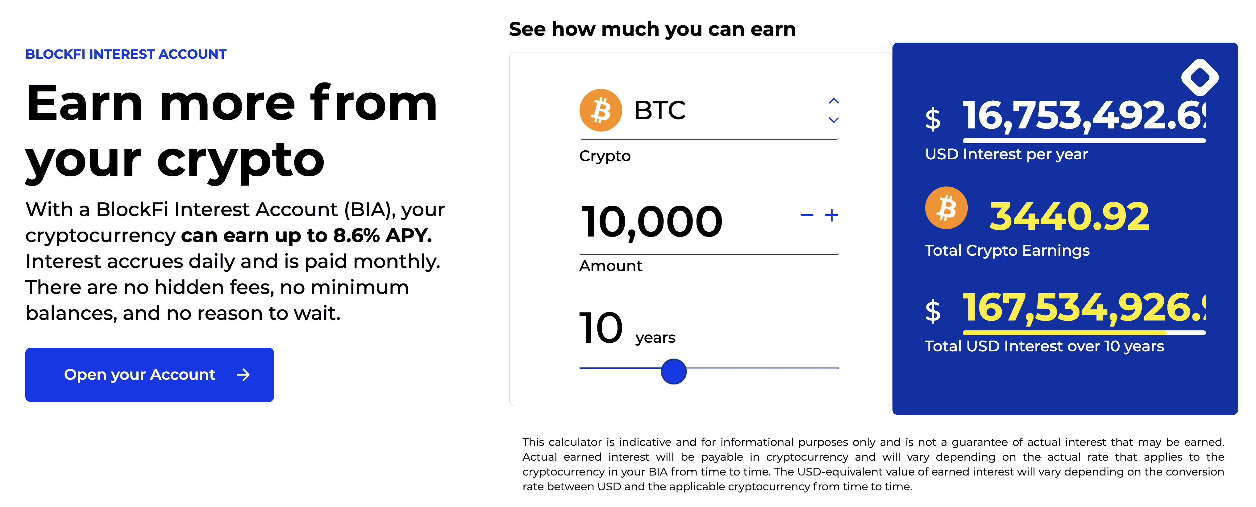 BlockFi interest calculator showing that interest over 10 years for 10k BTC could earn over $16 million.